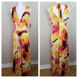 Candie's Orange Pink Yellow Maxi Dress Size Large